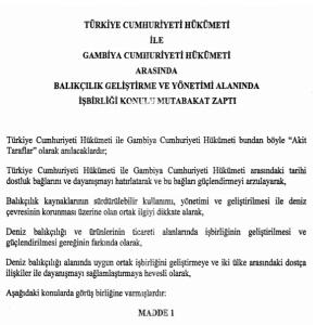 Türkiye ile Gambiya  Arasında Balıkçılık Hakkında Karar